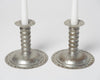 Pair Antique Swedish hand decorated Tin Candlesticks