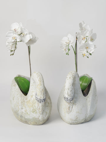Pair Vintage French Swan Planters, circa 1950