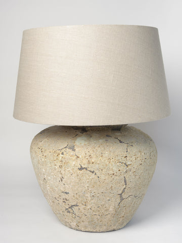 Large Barnacle textured Jar Lamp with Natural Linen shade