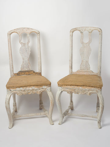 Antique Swedish Rococo Chairs, circa 1750, pair