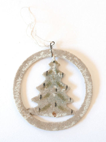 Collection Vintage Venetian Dew Glass Tree Decorations with cut out scraps