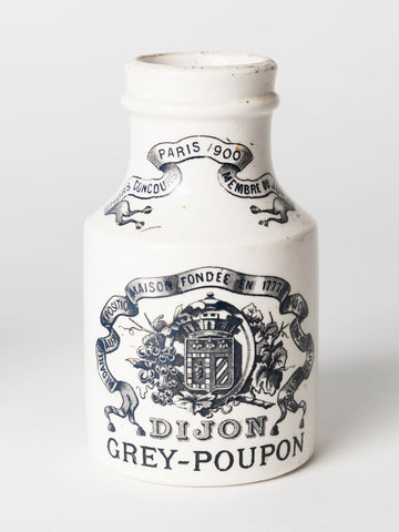 Antique French Dijon Grey Poupon Mustard Pots by Digoin & Sarreguimines