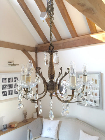 Pretty Vintage French Brass Chandelier - Decorative Antiques UK  - 1