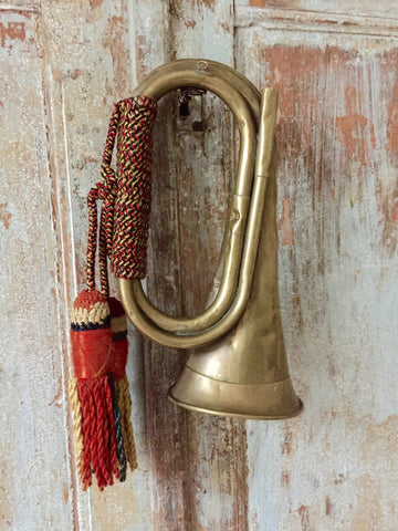 Vintage French Brass Bugle with original braided cord - Decorative Antiques UK