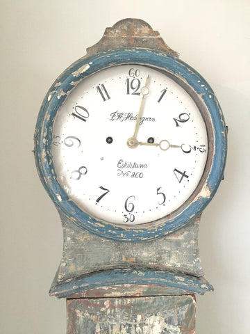 Antique Swedish Mora Clock, dry scraped, circa 1820's - Decorative Antiques UK  - 1