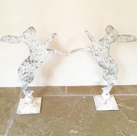 Gorgeous Pair Aged Metal Boxing Hares on Stands - Decorative Antiques UK  - 1