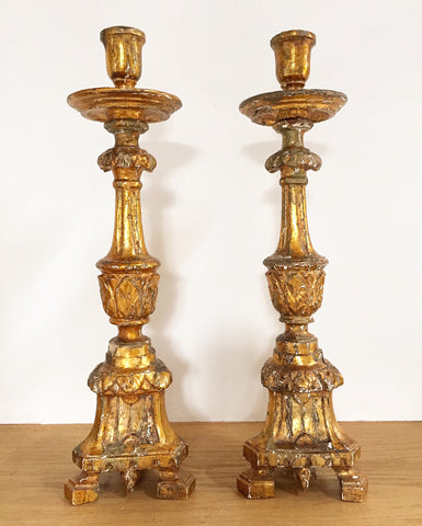 Antique French Gilt Altar Candlesticks
