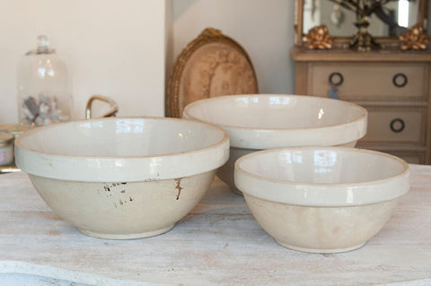 Beautiful Vintage French Stoneware Bowls - Decorative Antiques UK  - 1