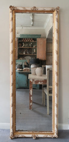 Antique French Gilt and Decorative Gesso Full Length Mirror