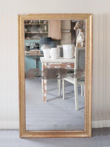 Antique 19th Century French Gilt Mercury Glass Mirror