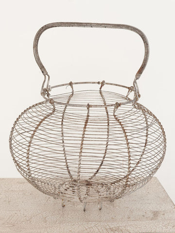 Large Vintage French Wire Egg Basket - Decorative Antiques UK