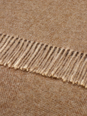 Bronte British Wool Herringbone Throw Blanket in Natural - Decorative Antiques UK  - 1