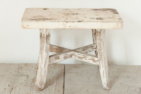 Antique French stool with original paint - Decorative Antiques UK  - 1