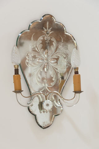 Vintage French Venetian Mirror Glass Wall Sconce - Decorative Antiques UK  - 1