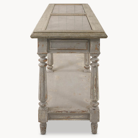 Beautiful Grey Oak and Stone Antique Style Console Table