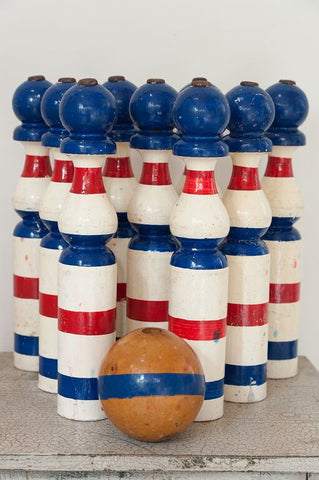 Set Vintage French Wooden Skittles with Ball - Decorative Antiques UK  - 1
