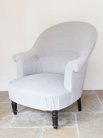 Antique French Fauteuil Crapaud/Tub Chair, newly reupholstered in Dove Grey Linen - Decorative Antiques UK  - 1