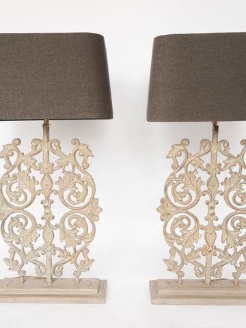 Beautiful Large Metal Balustrade Table Lamps with Grey Linen Shades