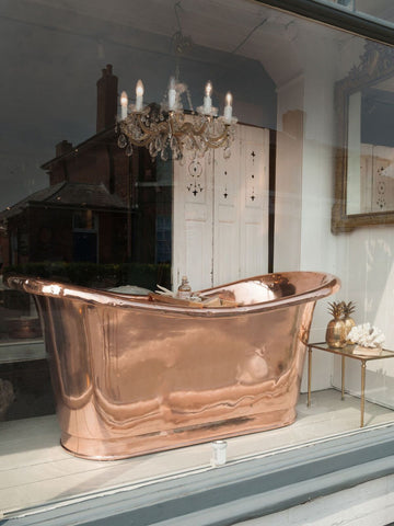 Antique French Copper Bateau Bath, fully polished
