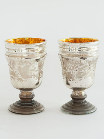 Pair Antique French Mercury Glass Goblets