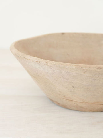 Antique Swedish Bleached Rustic Bowl - Decorative Antiques UK  - 1