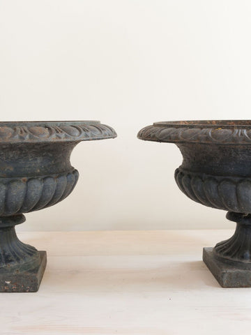 Pair Antique French Cast Iron Black Urns