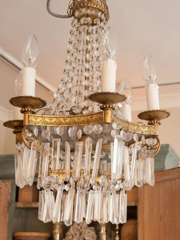 Vintage French Crystal 6 arm Chandelier