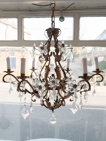 Beautiful 1920's Italian Gilt Tole and Floral Crystal Chandelier