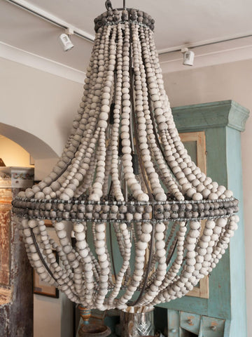 Stunning Large Ceramic Clay Bead Sash Chandelier