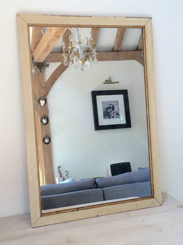 Antique French Reeded frame Rectangular Mirror, original paint