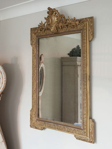 Antique French Crested Gilt Mirror - Decorative Antiques UK  - 1