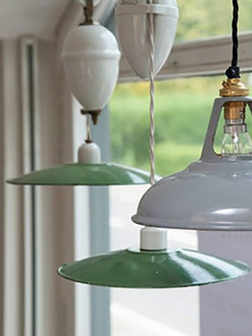 Vintage French Enamel and Porcelain Rise and Fall Pendant ceiling lights - Decorative Antiques UK  - 1