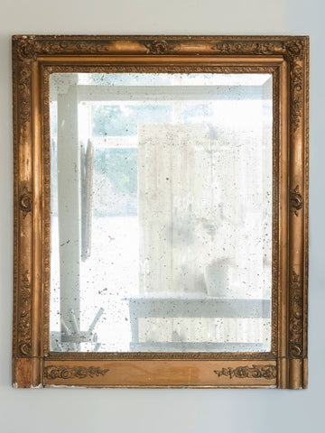 Antique French 19th Century Rectangular Gilt Mirror with foxed glass