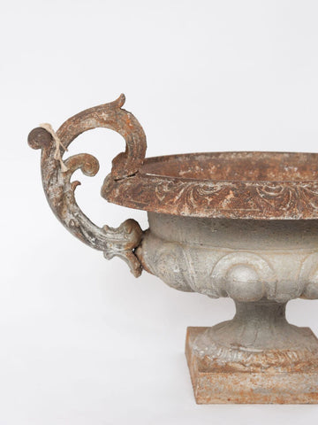 Large Antique French Silver Jardiniere Urn with decorative handles