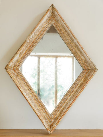 Antique French Mercury Mirror with Diamond shaped carved frame, very rare
