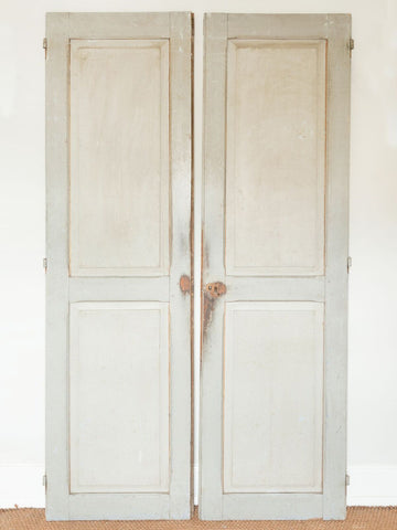 Pair Antique French Panelled Cupboard Doors with original paint
