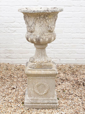 Antique Edwardian Carved Stone Urn on wreath decorated plinth