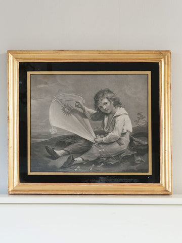 "Antique Painting by Joseph Barney, Engraved by T. Gaugain "" Boy with a kite"" - Decorative Antiques UK  - 1"