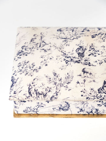 Vintage French Fabric covered cardboard box
