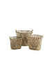 Set of 3 Oval Bamboo Baskets with handles