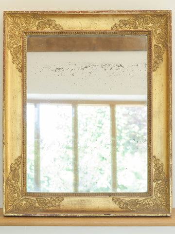 Antique French Gilt Mercury Glass Rectangular Mirror