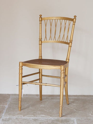 Pair of 19th Century French Gilt Wood and Cane chairs - Decorative Antiques UK  - 1