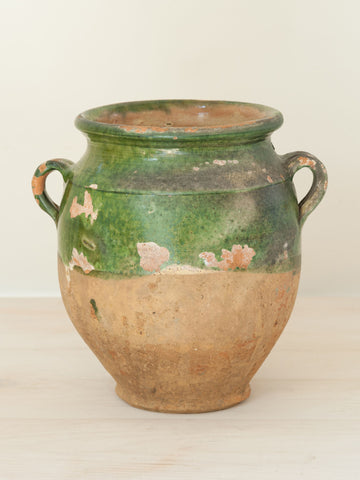 Antique French Provencal Green glazed Confit Pot