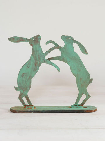 Small pair boxing hares on stand, with verdigris finish - Decorative Antiques UK  - 1