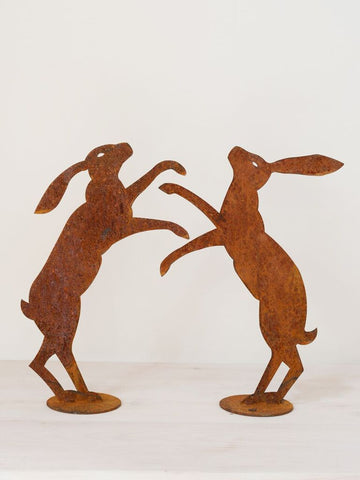 Pair Large Rusty Boxing Hares on Stands - Decorative Antiques UK  - 1