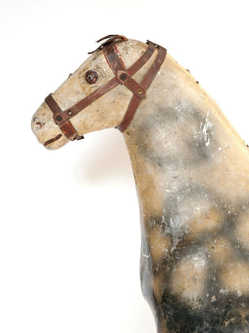 Antique French Wood and Papier Mache horse Fragment