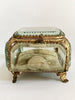 Antique 19th Century  French Bevelled Glass Jewellery Casket