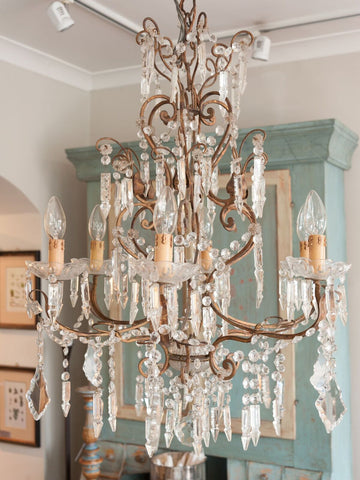 Stunning Large 1920's Italian Crystal Glass Chandelier, fully restored and rewired