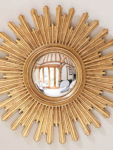 Gorgeous Mid Century French Convex Sunburst Mirror - Decorative Antiques UK  - 1