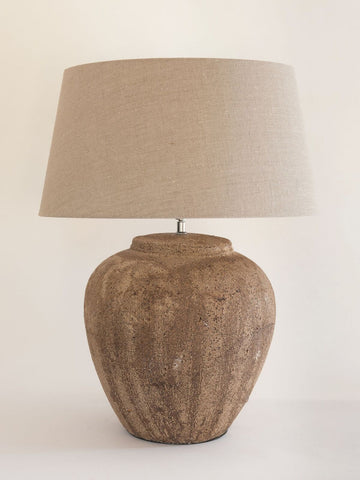 Beautiful Large Textured Terracotta Jar lamp with Linen shade